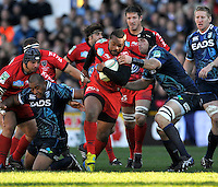 Cardiff, Wales. Mathieu Bastareaud of Toulon in action during the Heineken Cup Match between Cardiff Blues and Toulon at The Arms Park on October 21, 2012 in Cardiff, Wales