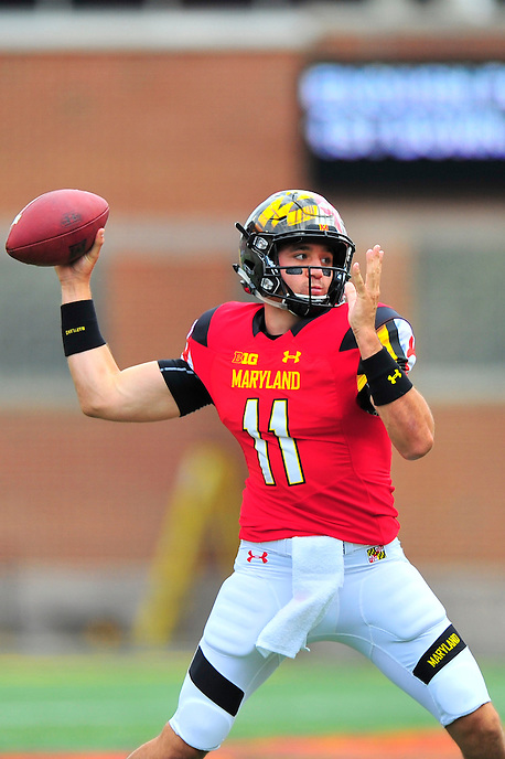 QB Perry Hills of the Terrapins throws a short pass to his receiver. Maryland routed Howard 51-13 during home season opener at Capital One Field in College Park, MD on Saturday, September 3, 2016.  Alan P. Santos/DC Sports Box