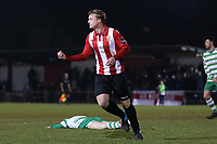 George Purcell of Hornchurch scores the fifth goal for his team and celebrates during AFC Hornchurch vs Waltham Abbey, Bostik League Division 1 North Football at Hornchurch Stadium on 13th January 2018