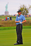 29 August 2009: Webb Simpson hits an approach shot during the third round of The Barclays PGA Playoffs at Liberty National Golf Course in Jersey City, New Jersey.