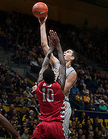 David Kravish of California shoots the ball during the game against Fresno State at Haas Pavilion in Berkeley, California on December 14th, 2013.  California defeated Fresno State, 67-56.