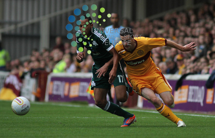 Zeca and Jamie Murphy chase the ball. Motherwell take on Greek side Panathinaikos in the UEFA Champions League Third Qualifying Round at Fir Park Motherwell on the 31st July 2012. Universal News And Sport (Europe) All pictures must be credited to www.unpixs.com. (Office)0844 884 51 22.