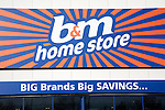 b&m home store sign, Copdock, Ipswich, England offering big brands savings
