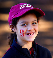 Alicia Gaeta waits for Fan Fest to open  before Saturday's, November 23, 2013, Big Game at Stanford University.