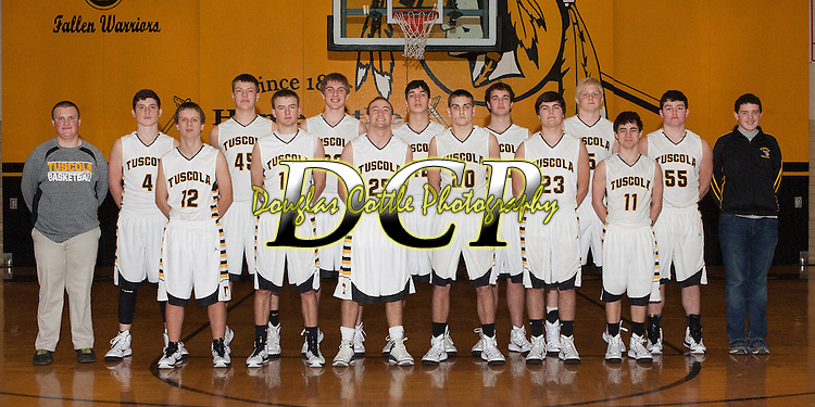 November 10, 2014- Tuscola, IL- The Tuscola Warrior Boys Varsity Basketball team. Back row from left are manager Brodey Kramer, Kaleb Williams, Stephen Gibson, Zach Bates, Jarrett Wallace, David Manselle, Nick Bates, Clayton Turner, and manager Noah Vincent. Front row from left are Raymond Poskin, Tommy Watson, Blake Woodard, Josh Knight, Zach McCallister, and Dalton Hoel. (Not pictured: Raymond Kerkhoff) [Photo: Douglas Cottle]