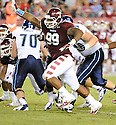 Temple Owls Levi Brown (99) in action during a game against the Villanova Wildcats on August 31, 2012 at Lincoln Financial Field in Philadelphia, PA. Temple beat Villanova 41-10.