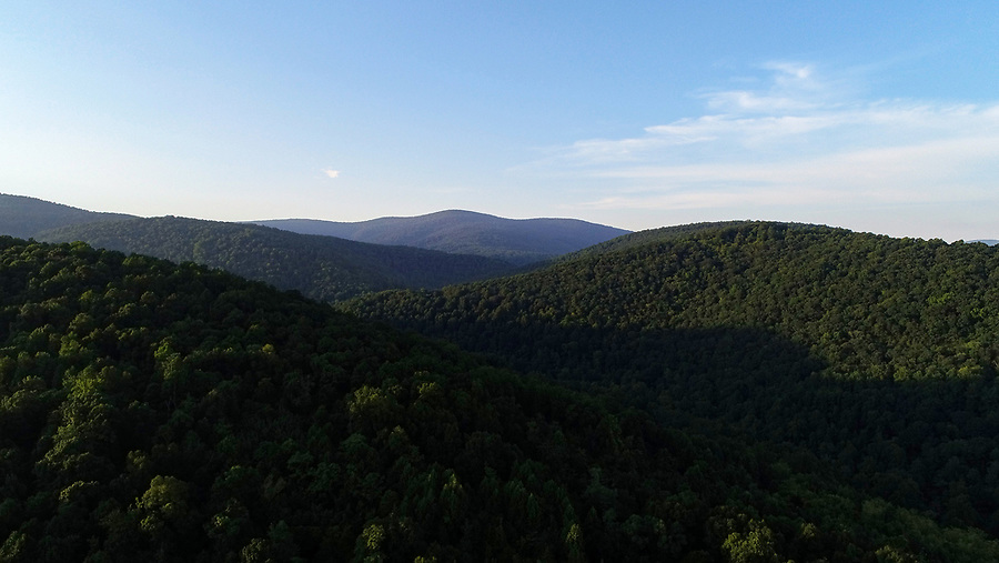 An aerial view of Central Virginia and the Blue Ridge Mountains. Photo/Andrew Shurtleff Photography, LLC