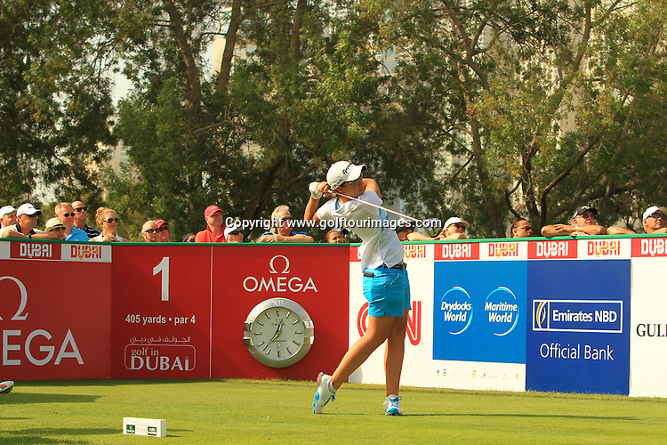 Carlotta CIGANDA (ESP) during round four of the 2014 Omega Dubai Ladies Masters being played over the Majlis Course, Emirates Golf Club, Dubai from 10th to 13th December 2014: Picture Stuart Adams, www.golftourimages.com: 13-Dec-14