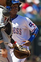 Round Rock shortstop Jurickson Profar (10) scores a run against the Nashville Sounds in the Pacific Coast League baseball game on May 5, 2013 at the Dell Diamond in Round Rock, Texas. Round Rock defeated Nashville 5-1. (Andrew Woolley/Four Seam Images).