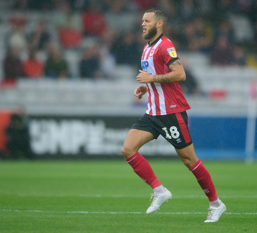 Lincoln City's Jorge Grant<br /> <br /> Photographer Andrew Vaughan/CameraSport<br /> <br /> The EFL Sky Bet League One - Lincoln City v Fleetwood Town - Saturday 31st August 2019 - Sincil Bank - Lincoln<br /> <br /> World Copyright © 2019 CameraSport. All rights reserved. 43 Linden Ave. Countesthorpe. Leicester. England. LE8 5PG - Tel: +44 (0) 116 277 4147 - admin@camerasport.com - www.camerasport.com