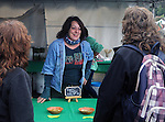 Deborah Ricks, of Kiss My Feet Salon and Spa, seen volunteering at the Brine Barrel Booth, at the 27th Annual Hudson Valley Garlic Festival, held in Cantine Memorial Field, in Saugerties, NY, on Saturday, October 1, 2016. Photo by Jim Peppler; Copyright Jim Peppler 2016.