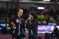 SCHAATSEN: HEERENVEEN: IJsstadion Thialf, 16-11-2012, Essent ISU World Cup, Season 2012-2013, Jelle Spruyt (coach Belgium), Bart Veldkamp (coach Belgium), ©foto Martin de Jong