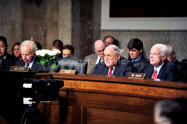 United States Senators listen to the testimony of General David H. Petraeus, U.S. Army, before the United States Senate Armed Services Committee hearing on his nomination to be commander of the International Security Assistance Force and commander of the United States Forces in Afghanistan in Washington, D.C. on Tuesday, June 29, 2010.  Pictured from left: U.S. Senator Joseph Lieberman (Independent Democrat of Connecticut); the memorial to U.S. Senator Robert Byrd (Democrat of West Virginia); U.S. Senator Carl Levin (Democrat of Michigan), General Petraeus; and U.S. Senator John McCain (Republican of Arizona)..Credit: Ron Sachs / CNP/MediaPunch