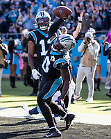 CHARLOTTE, NC - NOVEMBER 3: Curtis Samuel #10 of the Carolina Panthers celebrates after catching a touchdown pass during a game between Tennessee Titans and Carolina Panthers at Bank of America Stadium on November 3, 2019 in Charlotte, North Carolina.