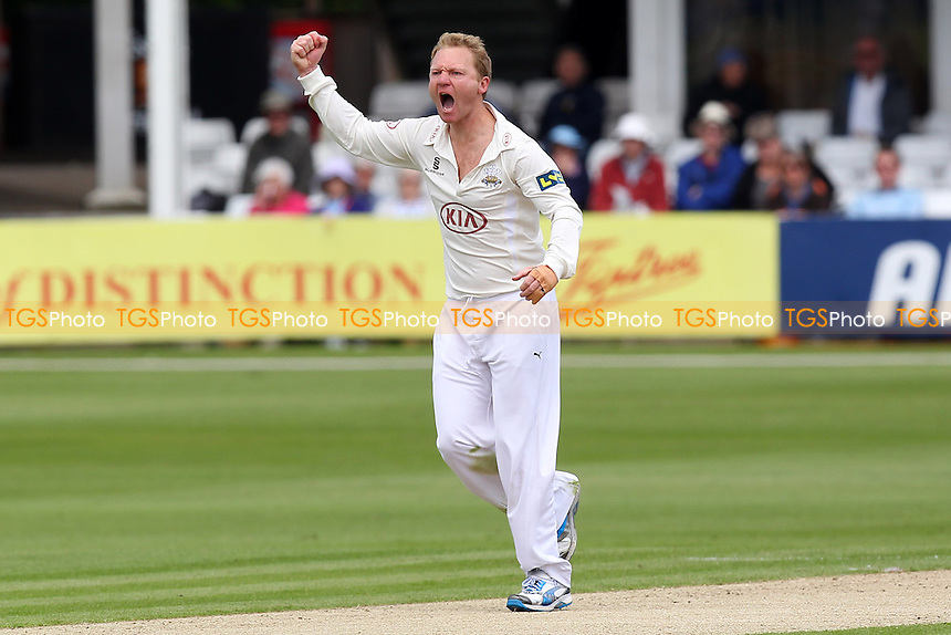 Gareth Batty of Surrey celebrates the wicket of Greg Smith - Essex CCC vs Surrey CCC - LV County Championship Division Two Cricket at the Essex County Ground, Chelmsford, Essex - 25/05/14 - MANDATORY CREDIT: Gavin Ellis/TGSPHOTO - Self billing applies where appropriate - 0845 094 6026 - contact@tgsphoto.co.uk - NO UNPAID USE