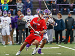 Mitch Savoca (#15) moves into the Albany defense as UAlbany Men's Lacrosse defeats Richmond 18-9 on May 12 at Casey Stadium in the NCAA tournament first round.