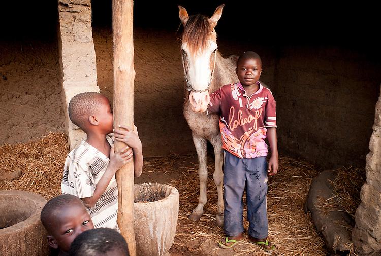 Rachid et son cheval. Rachid a 8 ans. Il est le plus jeune cavalier de Djougou.