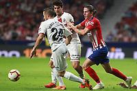 Atletico de Madrid vs Huesca Spanish league football match at Wanda Metropolitano in Madrid on September 25, 2018.<br /> Filipe Luis; Miramon