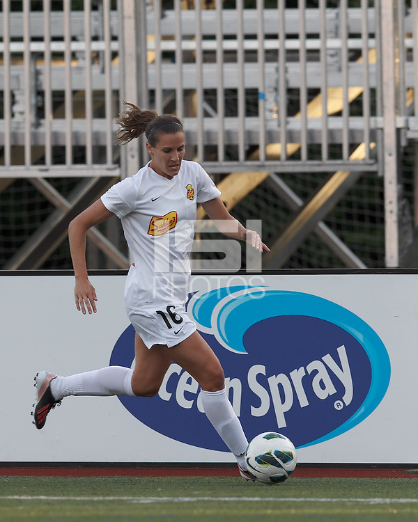 Western New York Flash defender Katherine Reynolds (16) dribbles down the wing. In a National Women's Soccer League Elite (NWSL) match, the Boston Breakers (blue) tied Western New York Flash (white), 2-2, at Dilboy Stadium on June 5, 2013.