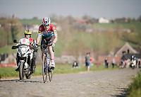 Bob JUNGELS (LUX/Deceuninck-Quick Step) bridging the gap with the breakaway group on bis own<br /> <br /> 62nd E3 BinckBank Classic (Harelbeke) 2019 <br /> One day race (1.UWT) from Harelbeke to Harelbeke (204km)<br /> <br /> ©kramon