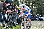 Tim Declercq (BEL) Deceuninck-Quick Step climbs the Muur van Geraardsbergen during Omloop Het Nieuwsblad 2020, Belgium. 29th February 2020.<br /> Picture: Serge Waldbillig/cyclingpix.lu | Cyclefile<br /> <br /> All photos usage must carry mandatory copyright credit (© Cyclefile | cyclingpix.lu/Serge Waldbillig)