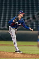 AZL Rangers relief pitcher Braden Pearson (37) follows through on his delivery during an Arizona League playoff game against the AZL Cubs 1 at Sloan Park on August 29, 2018 in Mesa, Arizona. The AZL Cubs 1 defeated the AZL Rangers 8-7. (Zachary Lucy/Four Seam Images)