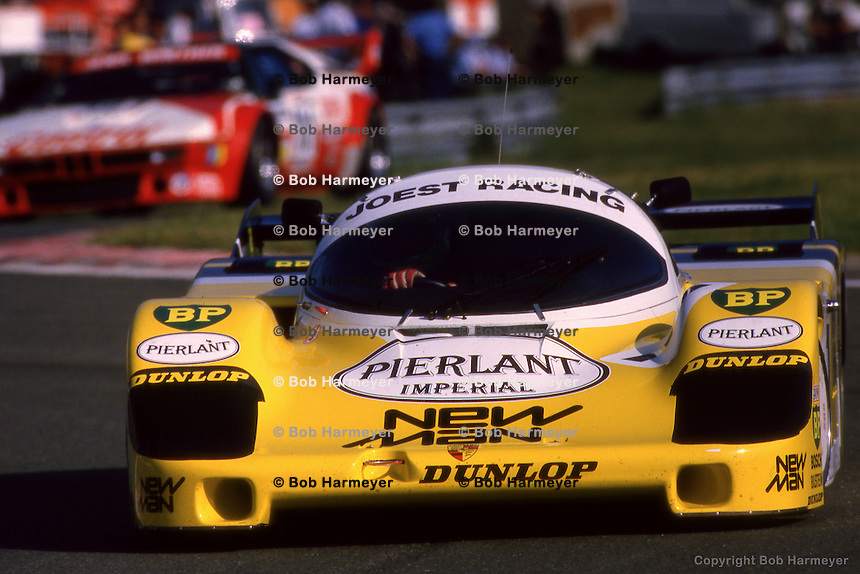 LE MANS, FRANCE: The Porsche 956B 117 driven to victory by Henri Pescarolo and Klaus Ludwig in the 24 Hours of Le Mans on June 17, 1984, at the Circuit de la Sarthe in Le Mans, France..