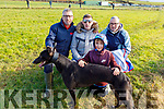 Pa Rourke, Junior O'Connor, John Harty and Jo Daly from Ballyduff with their dog Risk and Roll at the Ballyduff coursing on Sunday