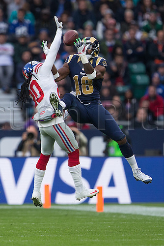 23.10.2016. Twickenham, London, England. NFL International Series. New York Giants versus LA Rams. Los Angeles Rams wide receiver Kenny Britt jumps for the ball.
