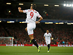 Wissam Ben Yedder of Sevilla celebrates scoring the first goal during the Champions League Group E match at the Anfield Stadium, Liverpool. Picture date 13th September 2017. Picture credit should read: Simon Bellis/Sportimage