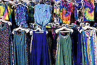 Womens clothing displayed at a flea market<br />
