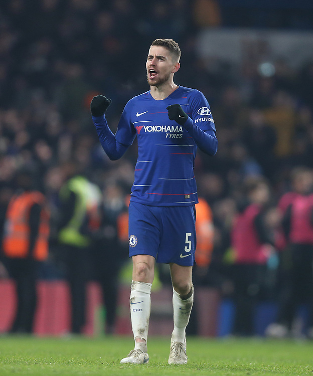 Chelsea's Jorginho celebrates at the end of the game<br /> <br /> Photographer Rob Newell/CameraSport<br /> <br /> The Carabao Cup Semi-Final Second Leg - Chelsea v Tottenham Hotspur - Thursday 24th January 2019 - Stamford Bridge - London<br />  <br /> World Copyright © 2018 CameraSport. All rights reserved. 43 Linden Ave. Countesthorpe. Leicester. England. LE8 5PG - Tel: +44 (0) 116 277 4147 - admin@camerasport.com - www.camerasport.com