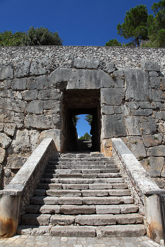 The main entrance, across the fortifications known as Mura Ciclopiche (XI century),  to the citadel in the center of Alatri, Porta Maggiore, with its <br />