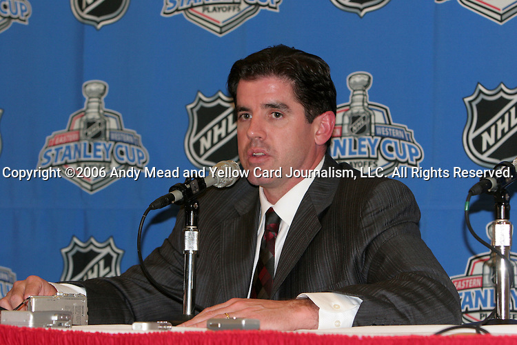 Carolina head coach Peter Laviolette talks to the media after the game on Thursday, June 1, 2006 at the RBC Center in Raleigh, North Carolina. The Carolina Hurricanes defeated the Buffalo Sabres 4-2 in game seven of their best of seven NHL Eastern Conference Final series winning the Prince of Wales trophy and advancing to the Stanley Cup Finals.