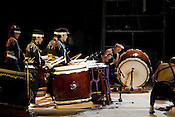 Japanese drum performers entertain the audience between intervals at the Toyohashi Fire Festival