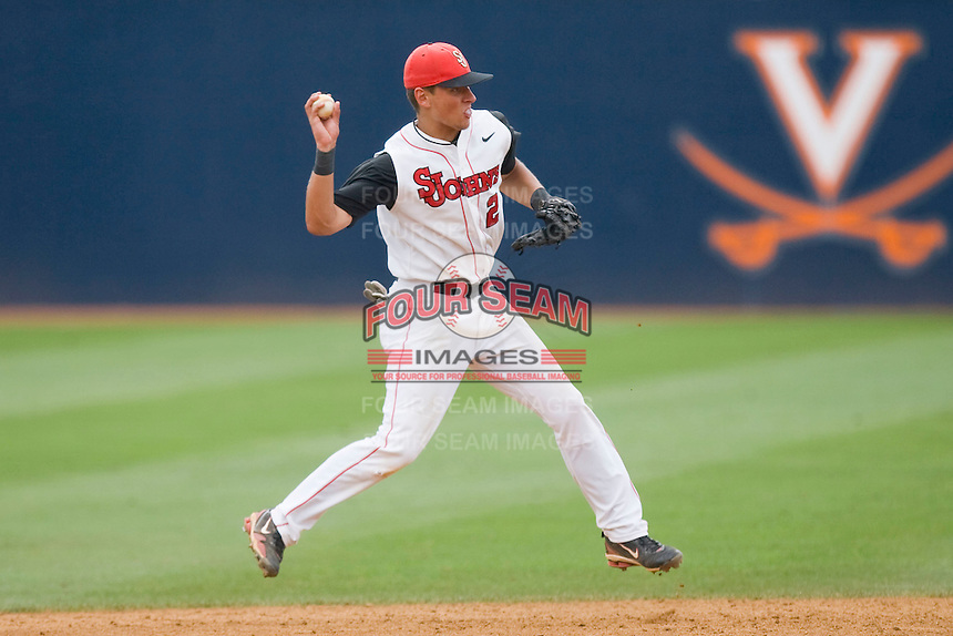 Shortstop Joe Panik #2 of the St. John's Red Storm makes an off-balance throw to second base against the Ole Miss Rebels at the Charlottesville Regional of the 2010 College World Series at Davenport Field on June 6, 2010, in Charlottesville, Virginia.  The Red Storm defeated the Rebels 20-16.  Photo by Brian Westerholt / Four Seam Images