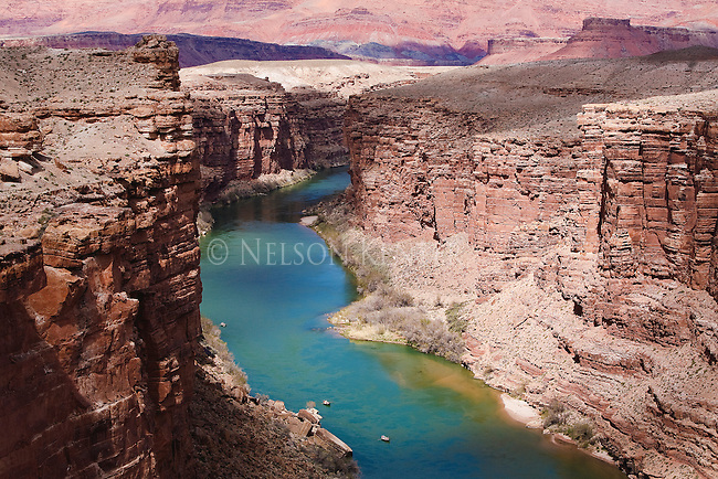 Two drift boats on the Colorado River in Arizona near Canyon Ferry
