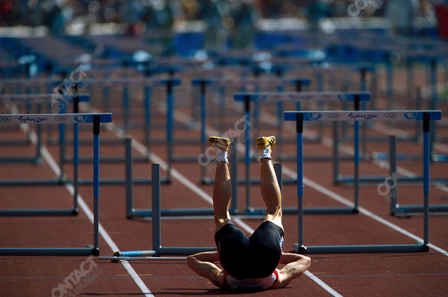 110m hurdles, men, round 1. Ralf Leberer (Germany), Summer Olympics, Sydney, Australia, September 2000