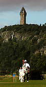 Scottish National Cricket League play-off match - Kelburne CC V Perth Strathearn CC at New Williamfield, Stirling - Strathearn bowler Tony Dellaquaglia sends the ball down in the shadow of the Wallace Monument - Picture by Donald MacLeod 12.9.10 - mobile 07702 319 738 - clanmacleod@btinternet.com