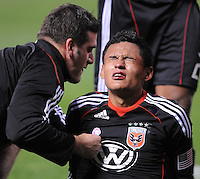 DC United midfielder Andy Najar (14) after being fouled.  Toronto FC. defeated DC United 3-2 at RFK Stadium, October 23, 2010.