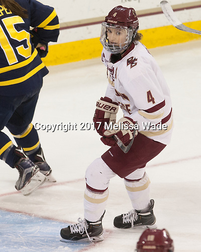Megan Keller (BC - 4) - The number one seeded Boston College Eagles defeated the eight seeded Merrimack College Warriors 1-0 to sweep their Hockey East quarterfinal series on Friday, February 24, 2017, at Kelley Rink in Conte Forum in Chestnut Hill, Massachusetts.The number one seeded Boston College Eagles defeated the eight seeded Merrimack College Warriors 1-0 to sweep their Hockey East quarterfinal series on Friday, February 24, 2017, at Kelley Rink in Conte Forum in Chestnut Hill, Massachusetts.