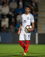 Marcus Edwards (Tottenham Hotspur) of England U20 holds the ball before missing his penalty during the International friendly match between England U20 and Netherlands U20 at New Bucks Head, Telford, England on 31 August 2017. Photo by Andy Rowland.
