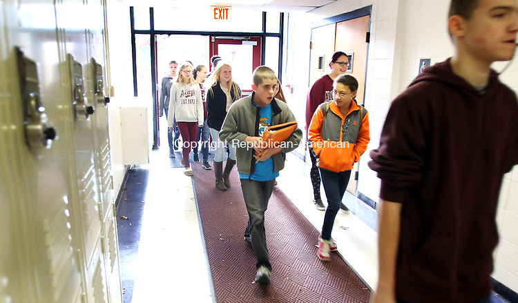 TORRINGTON CT. 04 December 2015-120415SV06-Torrington Middle School eighth-graders visit the high school for the first time in Torrington Friday. The middle school had all students visit the high school to show the students around and see what opportunities are available to them. <br /> Steven Valenti Republican-American