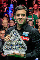 Ronnie O'Sullivan poses with the trophy after winning the Dafabet Masters FINAL between Barry Hawkins and Ronnie O'Sullivan at Alexandra Palace, London, England on 17 January 2016. Photo by Liam Smith / PRiME Media Images