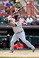 Binghamton Mets catcher Xorge Carrillo (44) at bat during a game against the Erie Seawolves on July 13, 2014 at Jerry Uht Park in Erie, Pennsylvania.  Binghamton defeated Erie 5-4.  (Mike Janes/Four Seam Images)