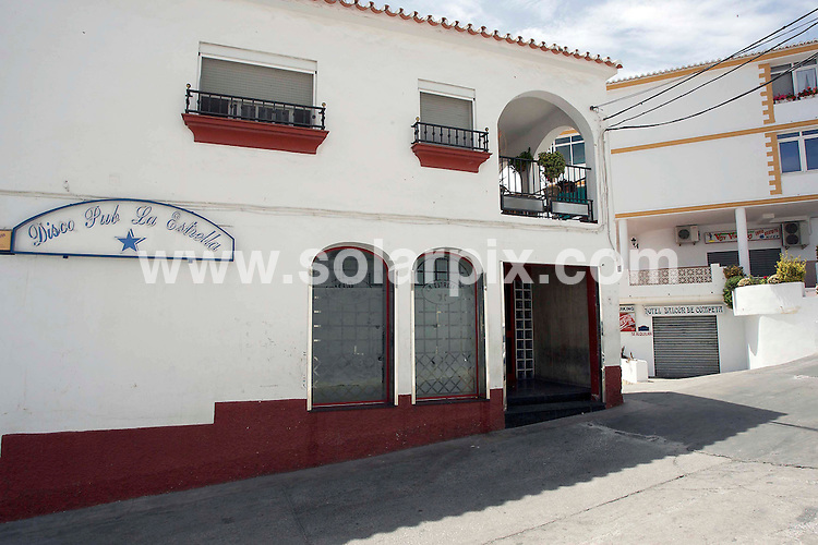 "**ALL ROUND EXCLUSIVE PICTURES FROM SOLARPIX.COM**.**WORLDWIDE SYNDICATION RIGHTS**.British holiday maker Stephen Mallom was involved in a brawl with some local lads after leaving the ""La Estrealla late night bar in the Spanish mountain Village of ""Competa"" near Malaga. The fight ended in him falling from a 15ft high terrace to a Hotel garage. entrance below..Stephen is now in a Coma at the Carlos Haya Hospital in Malaga..This pic:The Estrella Bar in Competa where Stephen and his family were drinking shortly before the fight started.(Top picture Right)-The terrace where Stephen fell...JOB REF: 9223       AB1       DATE:13.06.09.**MUST CREDIT SOLARPIX.COM OR DOUBLE FEE WILL BE CHARGED**.**ONLINE USAGE FEE GBP 50.00 PER PICTURE - NOTIFICATION OF USAGE TO PHOTO @ SOLARPIX.COM**.**CALL SOLARPIX : +34 952 811 768 or LOW RATE FROM UK 0844 617 7637**"