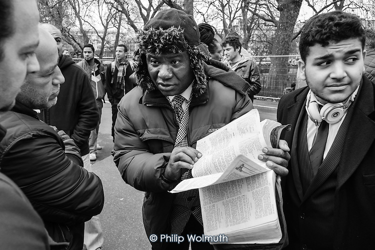 Bible scholar, Speakers' Corner, Hyde Park, London, April 2014.