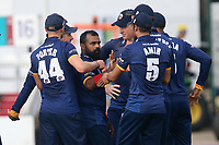 Ashar Zaidi of Essex is congratulated by his team mates after taking the wicket of Rory Burns during Essex Eagles vs Surrey, NatWest T20 Blast Cricket at The Cloudfm County Ground on 7th July 2017