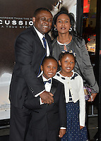 Dr. Bennet Omalu &amp; wife Prema Mutiso &amp; children Ashly Omalu &amp; Mark Omalu at the premiere of the movie based on his work &quot;Concussion&quot;, part of the AFI FEST 2015, at the TCL Chinese Theatre, Hollywood.<br /> November 10, 2015  Los Angeles, CA<br /> Picture: Paul Smith / Featureflash