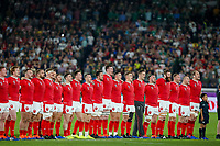 27th October 2019, Oita, Japan;  Wales payers line up during the 2019 Rugby World Cup semi-final match between Wales and South Africa at International Stadium Yokohama in Kanagawa, Japan on October 27, 2019.  - Editorial Use